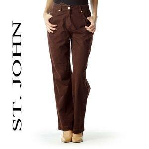 St. John Sport Brown Straight Leg Pants Sz 6